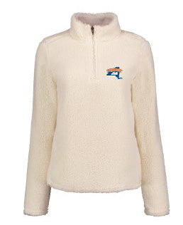MV White Sherpa Ladies 1/4 Zip Sweathshirt