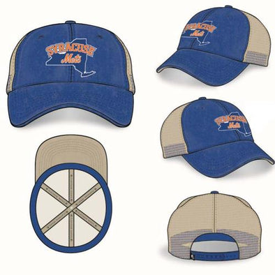Syracuse Mets OC Royal/Tan Trucker Adj. Cap