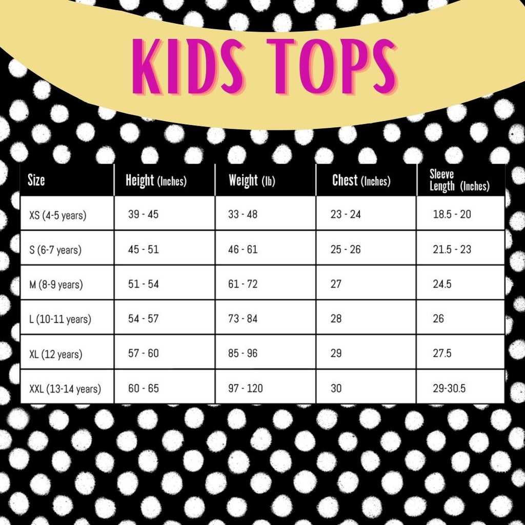 doublesolid kids tops size guide