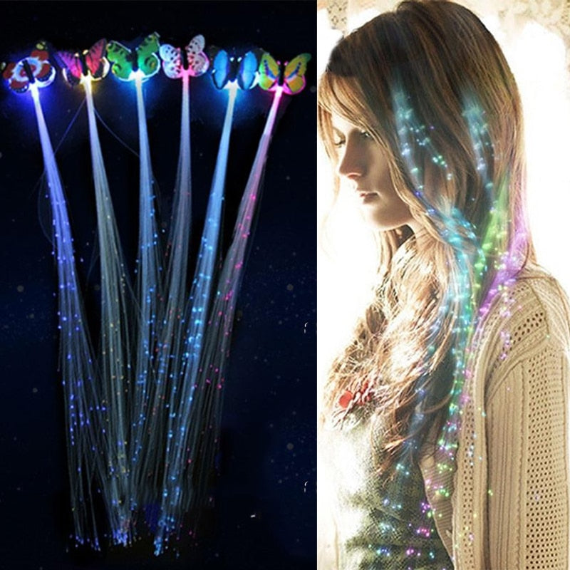LED Shining Glow Luminous Fibre Butterfly Hair Braid