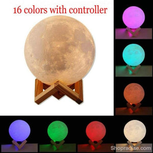 Realistic 3D Print Moon Lamp 16 Colors / Dia 10Cm
