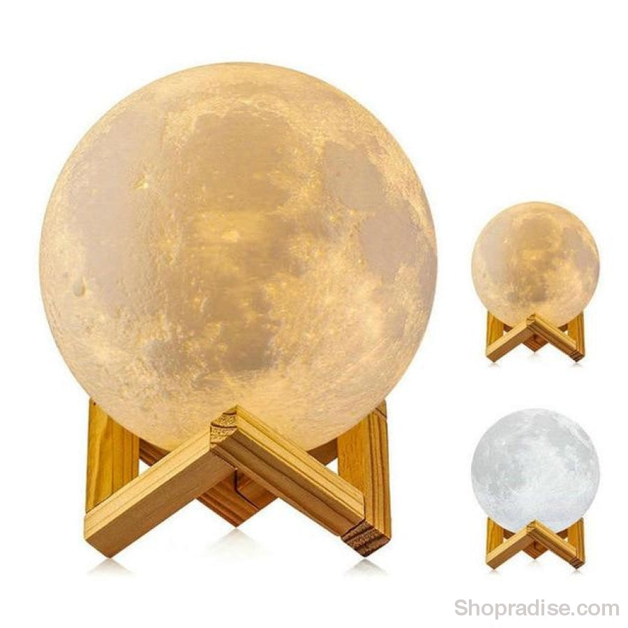 Realistic 3D Print Moon Lamp 2 Colors / Dia 10Cm