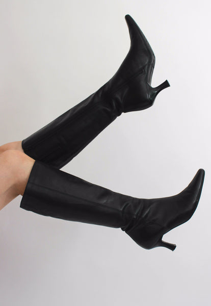 Black Knee High Stiletto Leather Boots