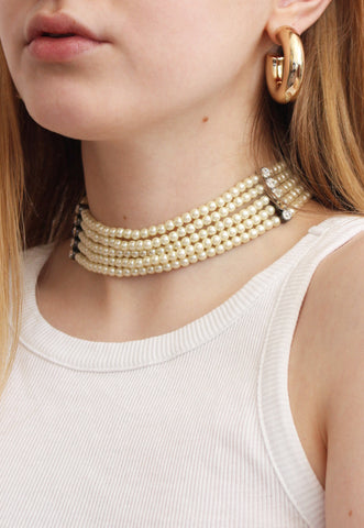 Four Strand Faux Pearl Choker Necklace