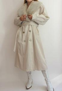 Cream Four Seasons Of London Faux Fur Collar Coat