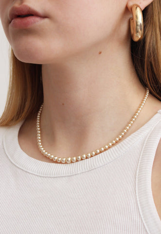 Dainty Champagne Faux Pearl Vintage Necklace