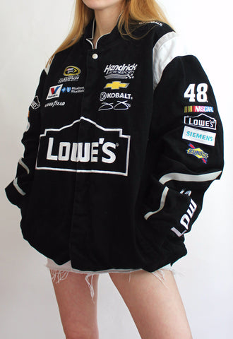 Black JH Design Vintage Nascar Racing Jacket