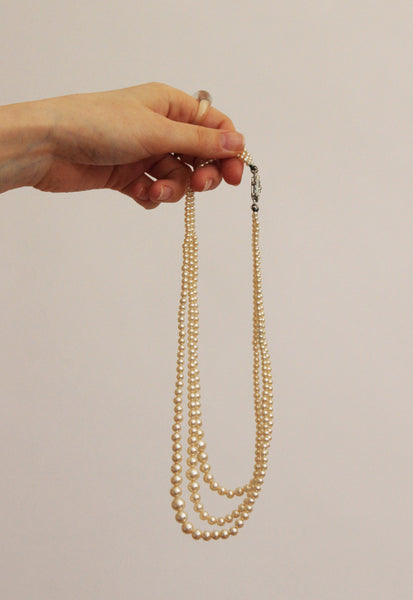 Vintage Three Strand Faux Pearl Necklace