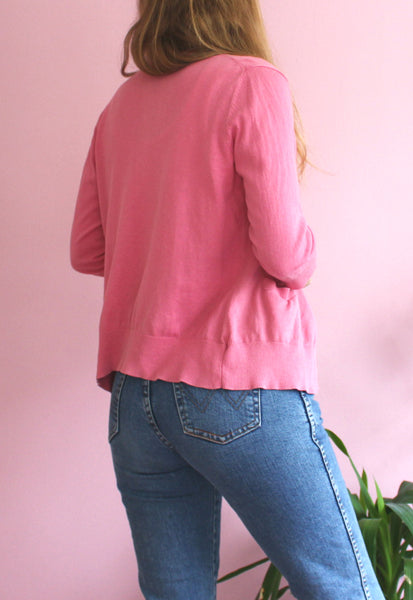 Pink Button-up Cardigan