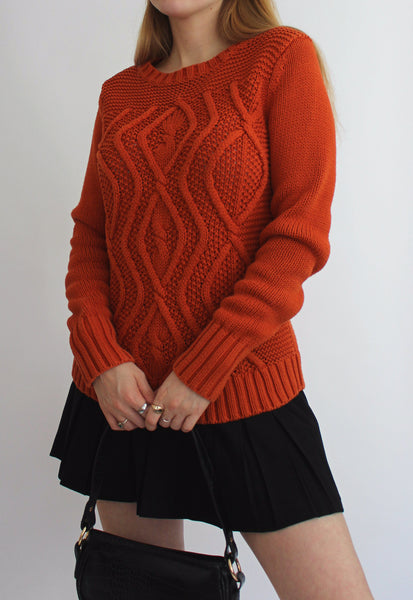 Vintage Chunky Orange Knitted Jumper