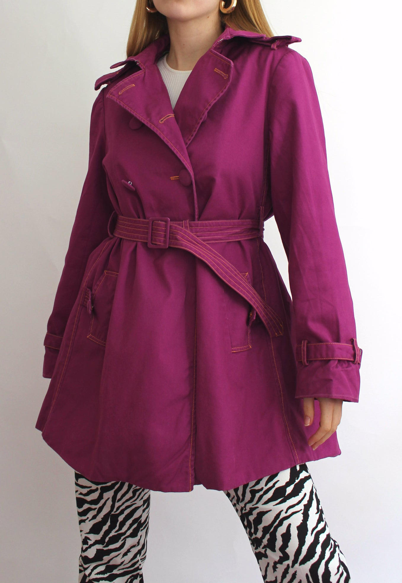 Ness Purple Trench Coat With Orange Contrast Stitching