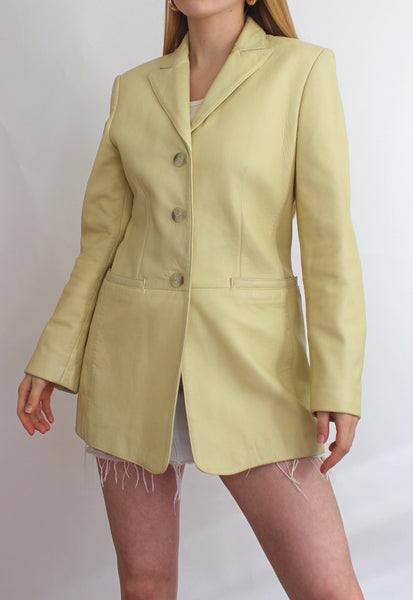 Light Yellow OuiSet Real Leather Blazer Jacket