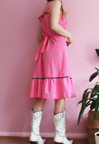 Vintage Pink Polka Dot Ruffle Dress