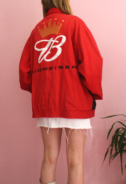 Vintage Red & Black Budweiser Racing Jacket