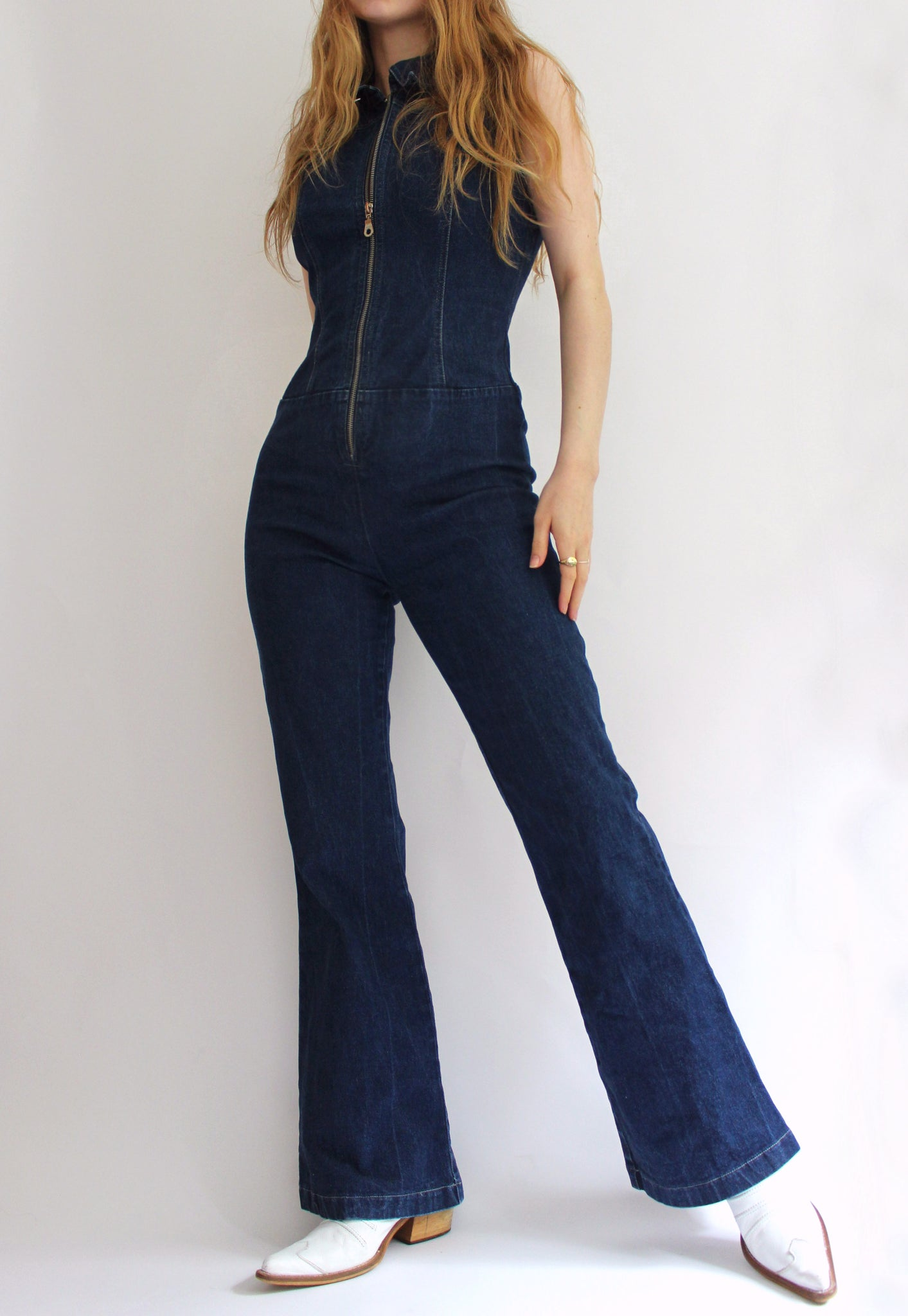 Y2K Blue Denim Kit Zip Front Jumpsuit