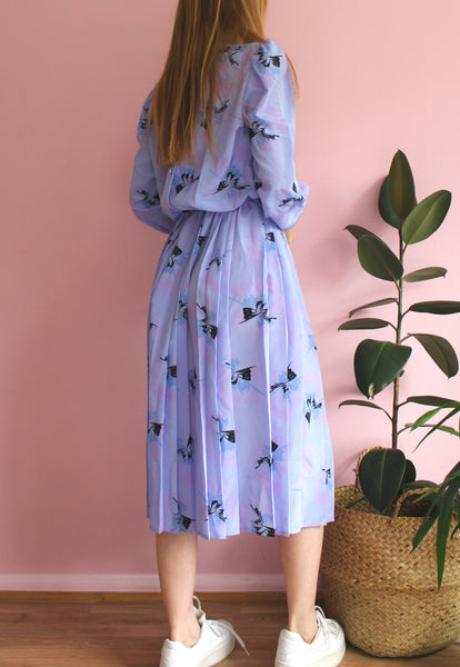 Vintage Blue/Purple Butterfly Midi Dress