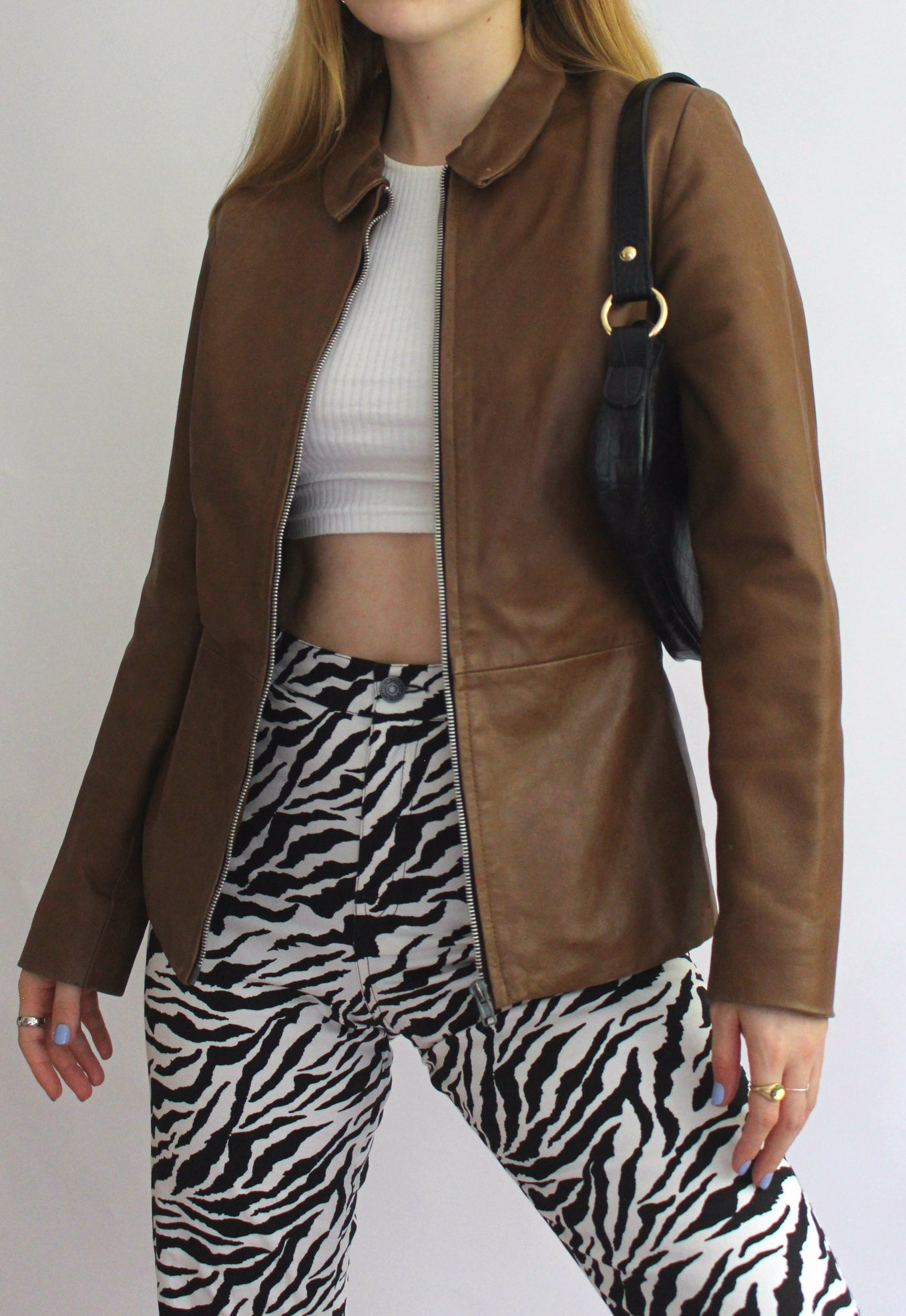 Brown Real Leather Zip Front Jacket