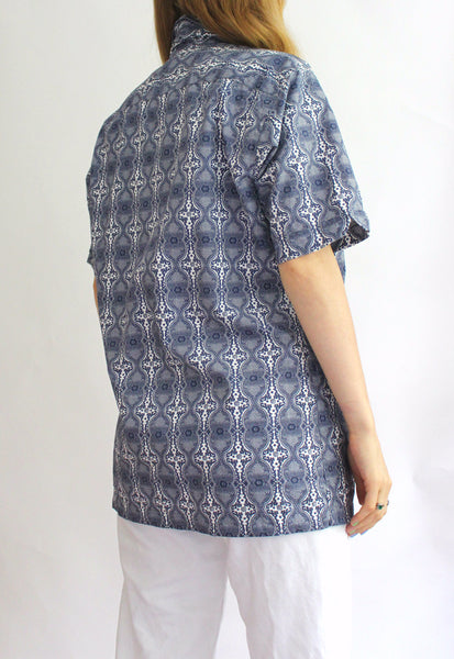 Blue Paisley Tommy Hilfiger Short Sleeve Shirt