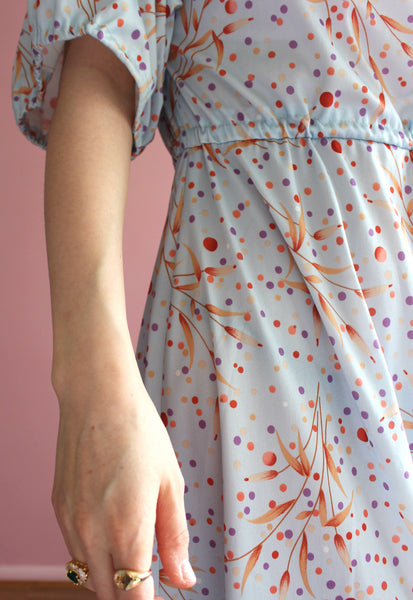 Vintage Blue Multi-Coloured Polka Dot Midi Dress