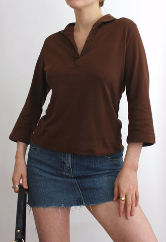 Brown Collared V-Neck 3/4 Length Sleeve Top