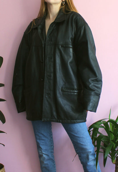 Black Oversized 'Real Leather' Leather Jacket