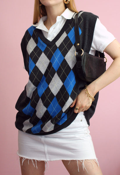 Grey Argyle Patterned Sweater Vest
