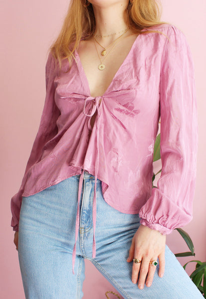 Pink Silky Tie Front Blouse