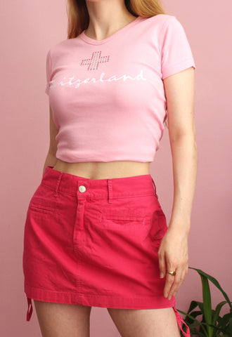 Y2K Barbie Pink Side Ruched Mini Skirt