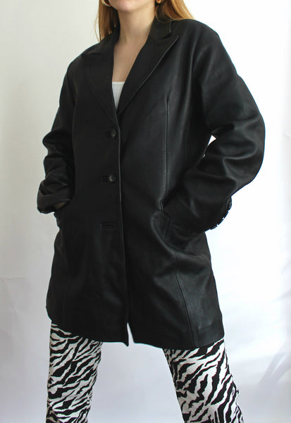 Vintage Black Real Leather Button Front Jacket