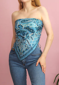 Blue Paisley Patterned Scarf