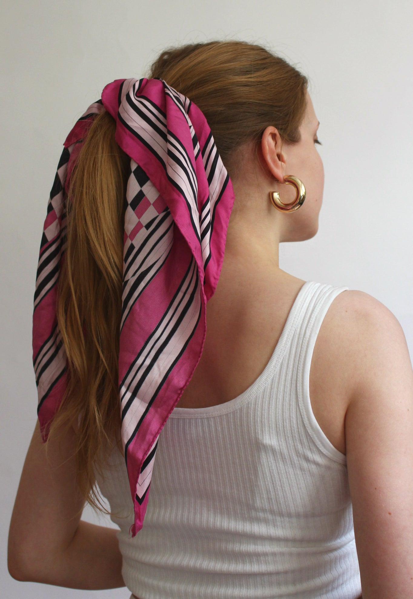Pink & Black Checkered Scarf