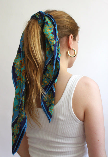 Blue Floral Scarf With Dark Blue Border