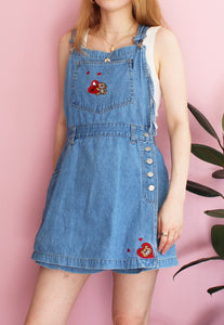 Vintage Blue Denim Dungaree Skort