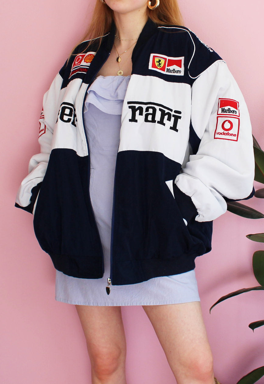 Vintage White & Navy Ferrari Jacket