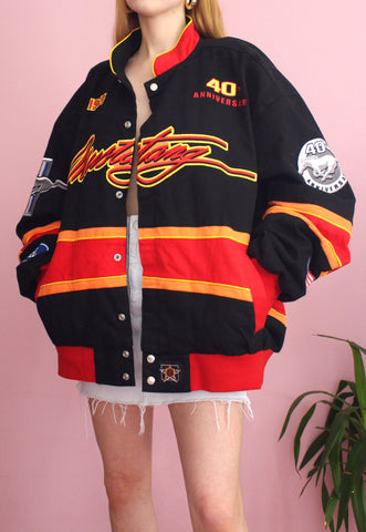 Vintage Black JH Design Ford Mustang Racing Jacket
