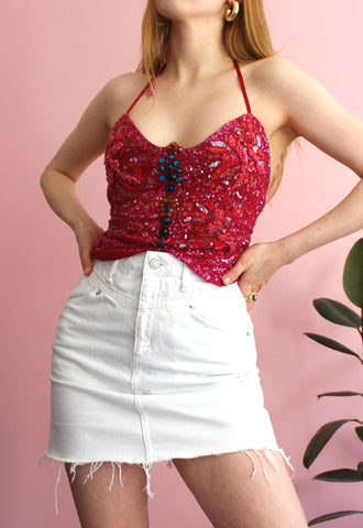 Fuchsia & Red Sequin Butterfly Halterneck
