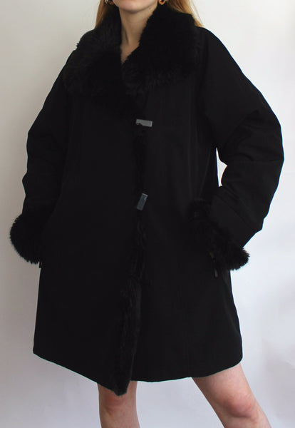 Black Jacques Vert Coat With Faux Fur Collar And Cuffs