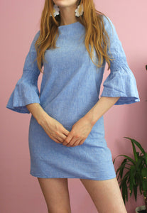 Vintage Blue Bell Sleeve Mini Dress