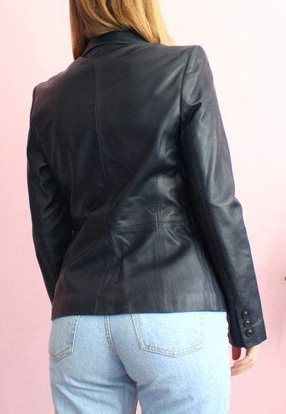 Vintage Blue/Black Leather Blazer