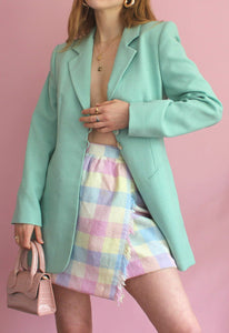 Vintage Pastel Check Wrap Skirt