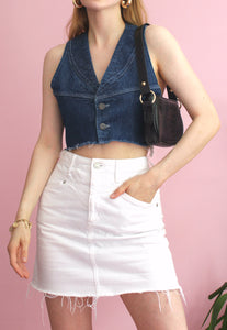 Reworked Vintage Denim Cropped Vest