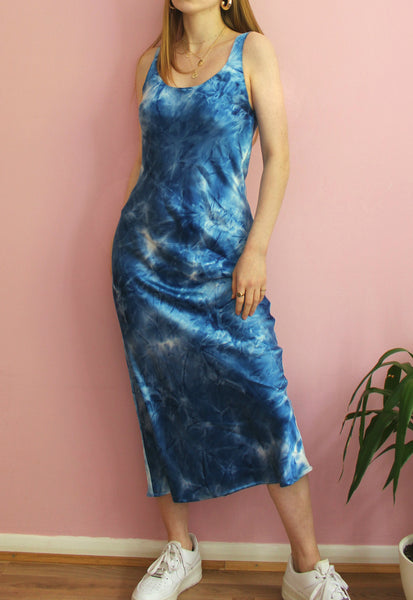 Blue Tie Dye Silky Midi Dress