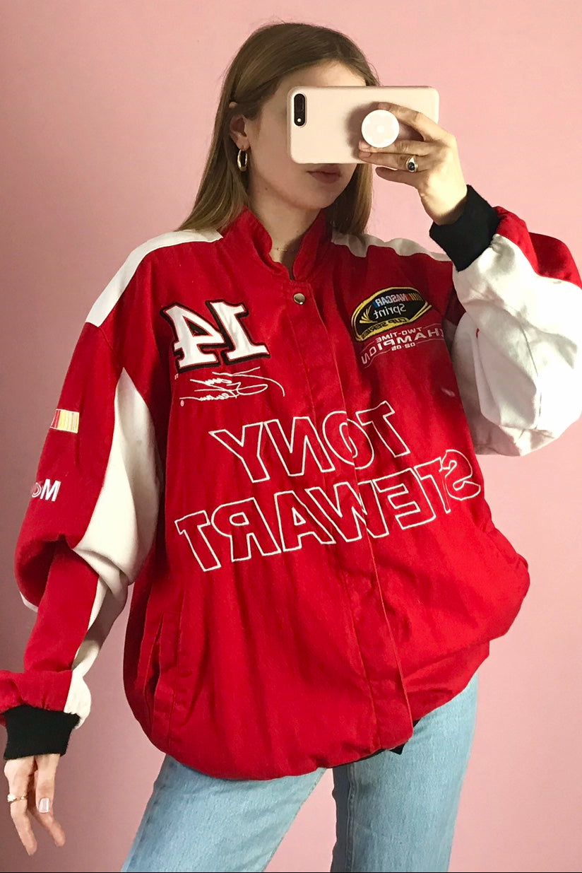 Vintage Red & White Nascar Jacket