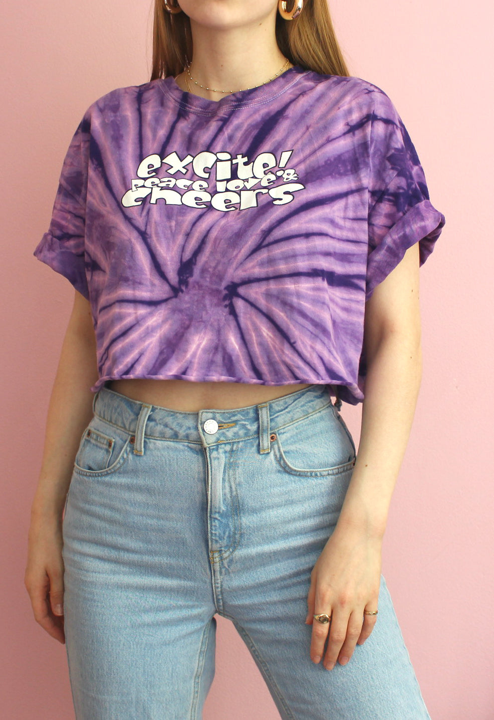 Purple Tie Dye Cropped Tee