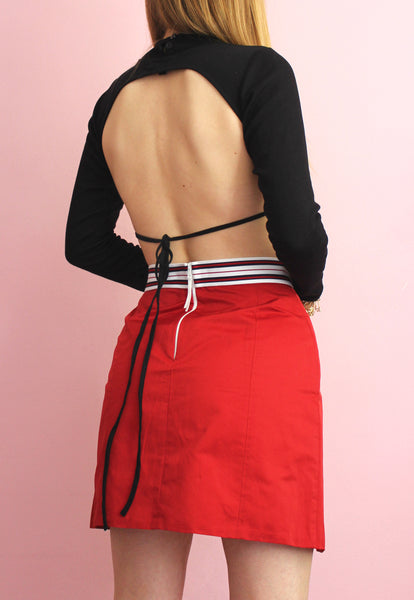 Red Dolce & Gabbana Pleated Tennis Skirt