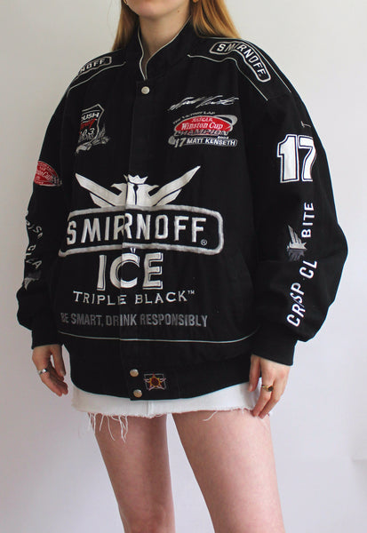 Black JH Design Smirnoff Ice Vintage Racing Jacket