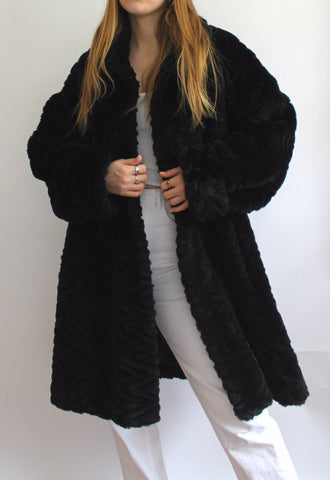 Black David Barry Fluffy Coat