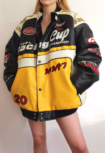 Black & Yellow Heavy Duty Vintage Racing Jacket