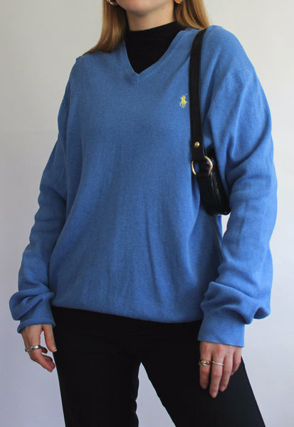 Blue Ralph Lauren Polo V-Neck Jumper