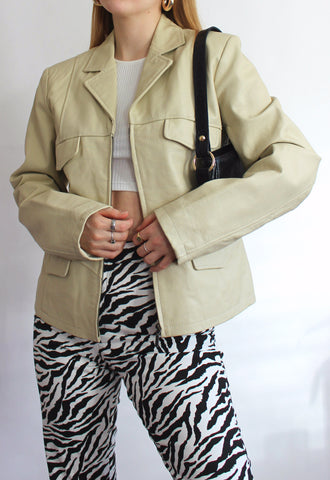 Vintage Cream Real Leather Zip Front Jacket